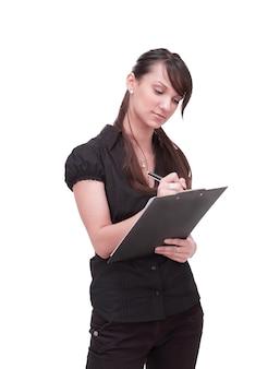 흰색 바탕에 문서가 있는 현대 비즈니스 여성