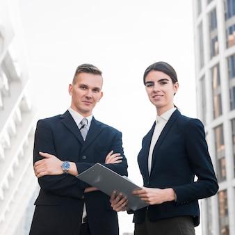 Modern businessman and businesswoman