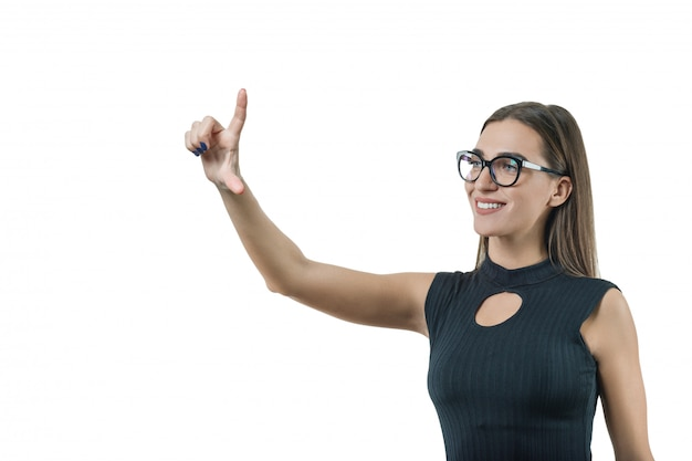 Modern businesswoman with glasses touching virtual screen