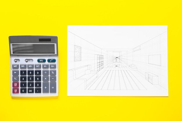 Modern calculator with drawing of interior on color surface