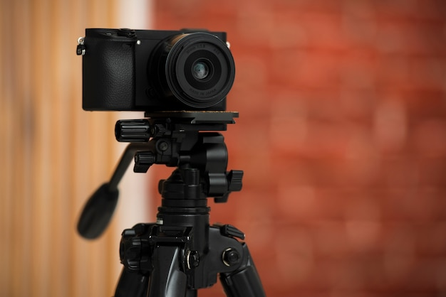 Modern camera on a profesional tripod