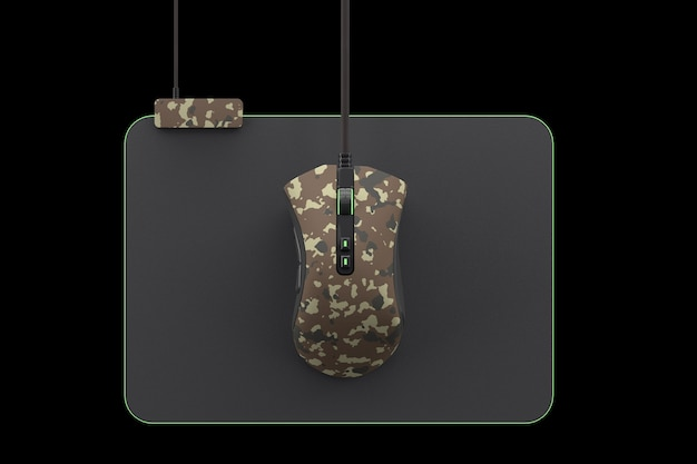 Modern camouflage gaming mouse on professional pad