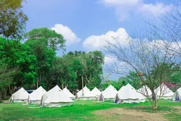 Modern camping for tourists with nature. glamping and alternative lodging concept Premium Photo
