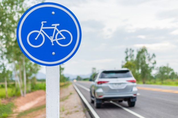 Modern car and bicycle sign