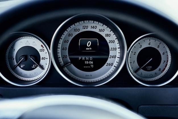 Modern car dashboard front view close up