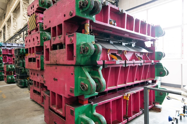 Modern car factory, mold and equipment storage warehouse.