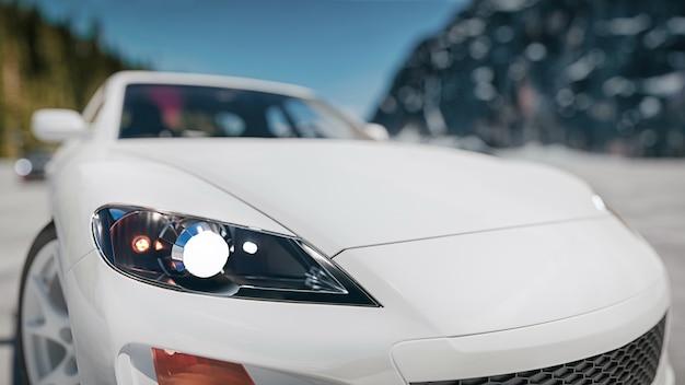 현대 자동차 앞 거리에 있습니다. 3d 렌더링 및 그림입니다.