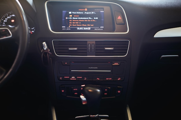 Modern car interior air condition in auto car multimedia and navigation