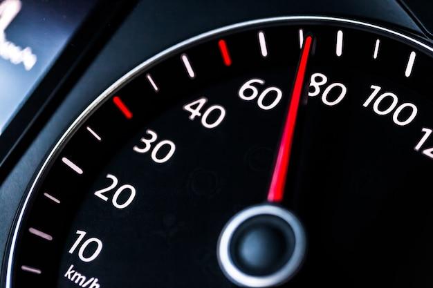 Modern car speedometer. close up shot of the dashboard a car.