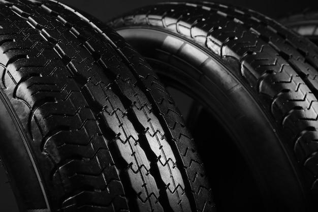 Modern car tires, closeup