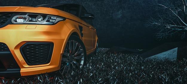 Современные автомобили в комнате студии. 3d иллюстрации и 3d визуализации.