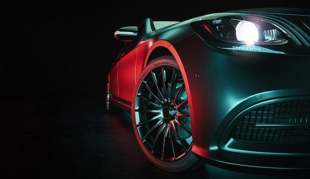 現代の車はスタジオルームにあります。 3dイラストと3dレンダリング。