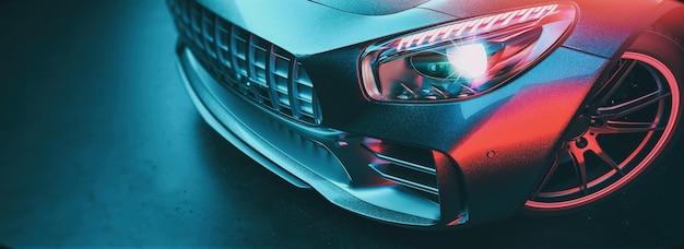 Современные автомобили находятся в комнате студии. 3d иллюстрации и 3d визуализации.
