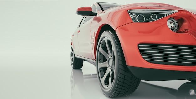 Современные автомобили находятся в комнате студии. 3d визуализации и иллюстрации.
