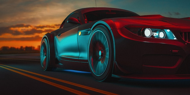 Современные автомобили едут по дороге. 3d иллюстрации и 3d визуализации.