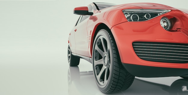 Modern cars are in the studio room. 3d render and illustration.