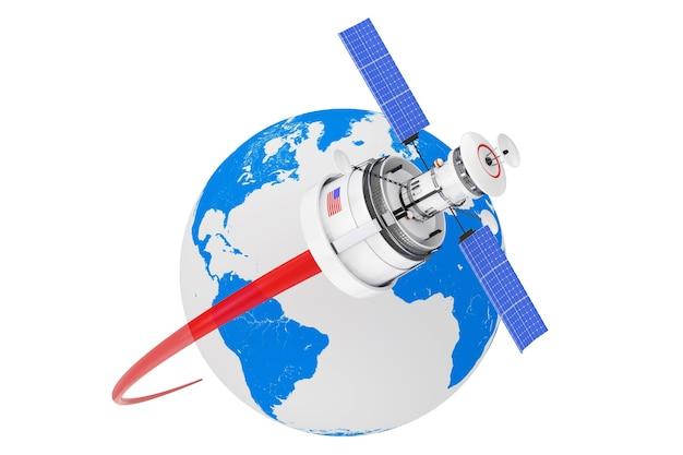 Современный мультяшный спутник, движущийся вокруг земного шара на белом фоне. 3d рендеринг