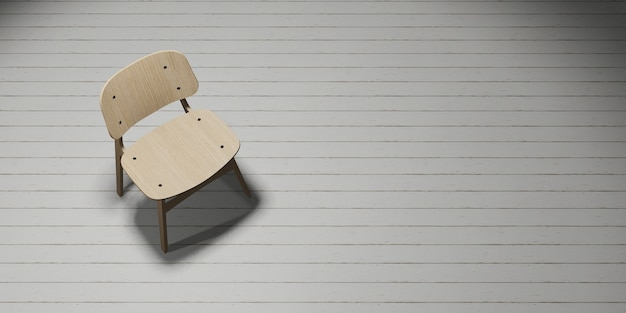 조명 3d 일러스트와 함께 나무 바닥에 배치 현대 의자