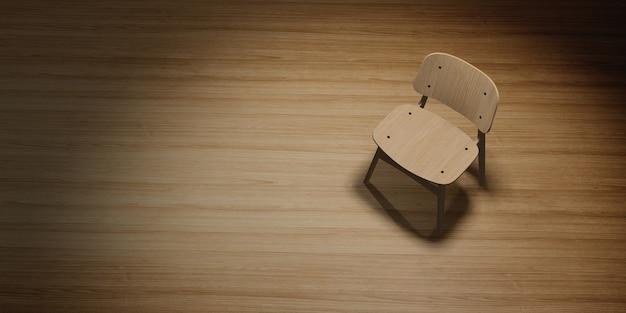 照明3dイラストと木の床に配置されたモダンな椅子