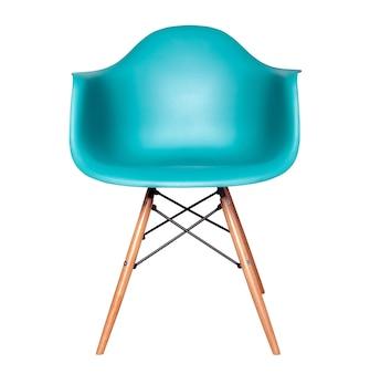 白で隔離の青い色のモダンな椅子のスツール