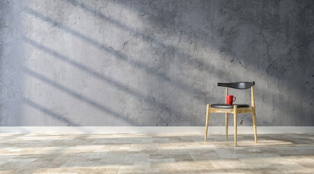 Modern chair with red cup of coffee on concrete room background
