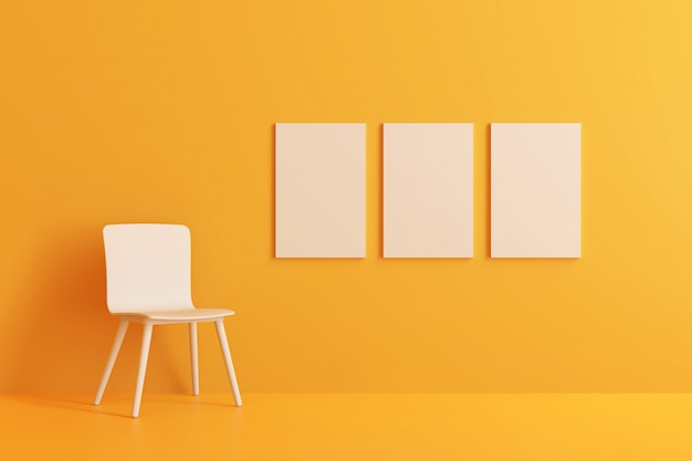 Modern chair with three picture frame in yellow living room. 3d render.