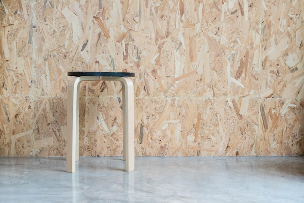 Modern chair with wood background