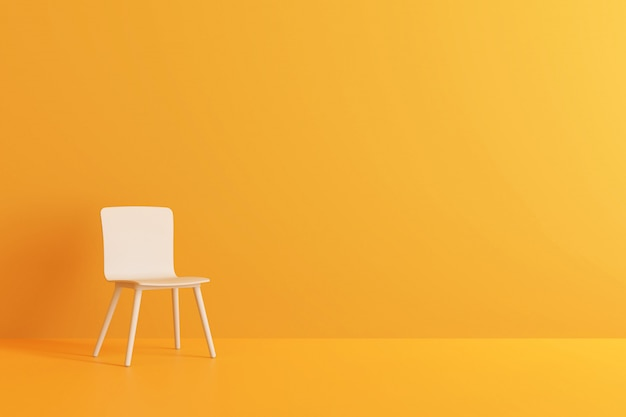 Modern chair in yellow living room. 3d render.