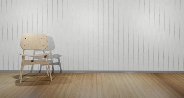 방 구석에 배치 된 현대적인 의자. 흰색 나무 벽 장면 내부 갈색 나무 바닥 3d 그림