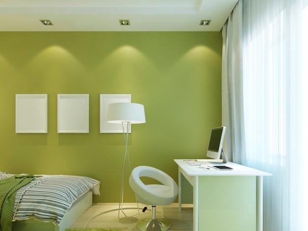 벽에 모형 포스터가 있고 십대를위한 책상이있는 현대 어린이 방 녹색. 3d 렌더링.