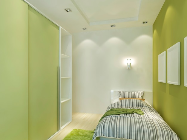 Modern children's room with false ceiling and spotlights. children with a comfortable bed and a wardrobe in light green colors. 3d render.