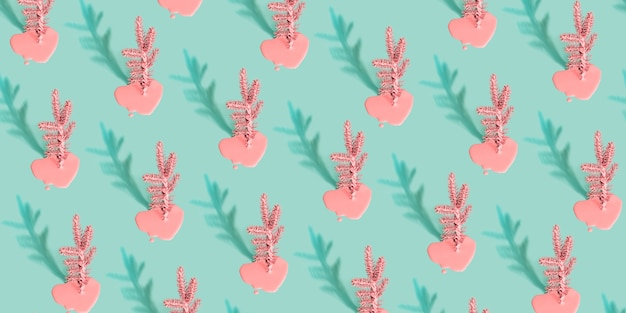 Modern christmas background or texture with painted christmas tree and shadow. pastel color pattern.