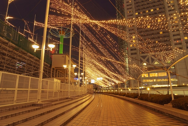Modern city night illumination by christmas time in tokyo
