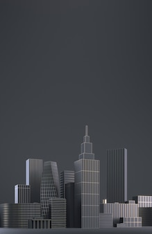 Modern city skyline, city silhouette, 3d illustration in black and gold design. copy space and black matte background. 3d render