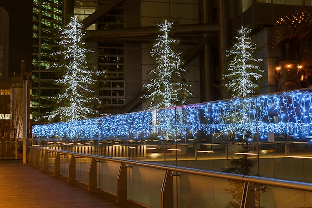 Modern city street illumination by christmas time