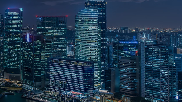 Modern city with light at night