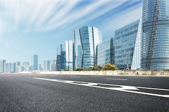 Modern cityscape with a road