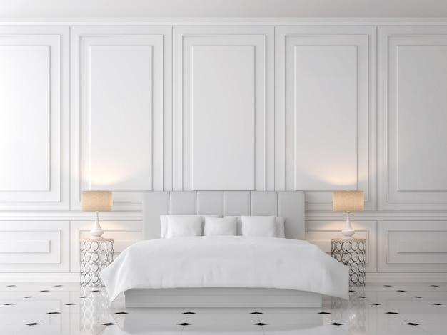 현대적인 클래식 침실 3d 렌더링, 밝은 회색 가죽 침대가 비치된 빈 흰색 벽이 있습니다.