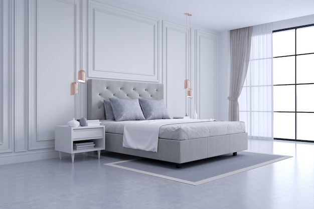Modern and classic bedroom interior design, white and gray room concept