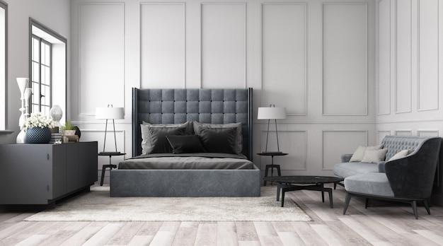Современная классическая спальня с отделкой стен классическим элементом и мебелью серого тона 3d рендера