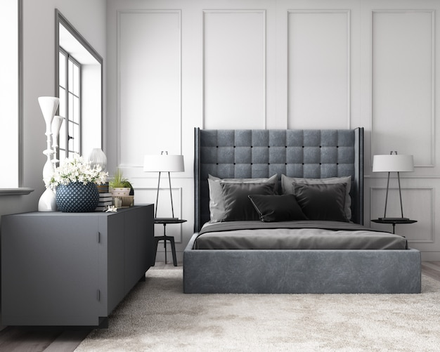 Modern classic bedroom with wall decorate by classic element and furniture grey tone 3d render