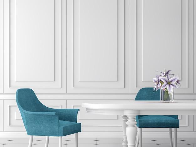 현대적인 클래식 식당 3d 렌더링흰색 테이블과 파란색 의자가 있는 흰색 벽이 있습니다.