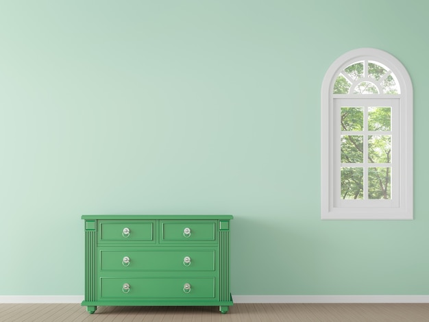 Modern classic empty room with green color wall and cabinet 3d render