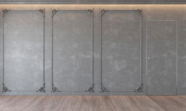 Современный классический серый интерьер с лепниной архитектура бетонная дверь деревянный пол потолок с подсветкой