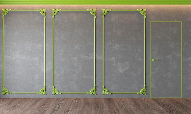 Современный классический серый интерьер с лепниной, зеленой лепниной, архитектурный бетон, бетон, дверь, деревянный пол.