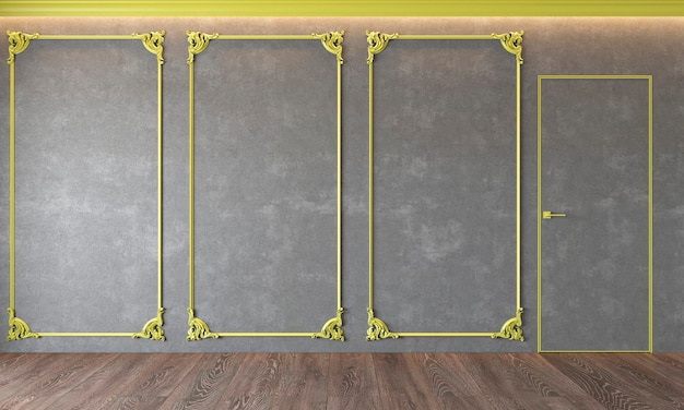Современный классический серый интерьер с лепниной, желтой лепкой, архитектурный бетон, бетон, дверь, деревянный пол.