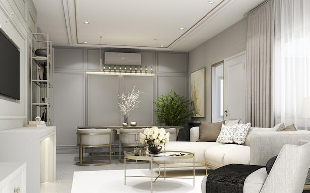 Современная классическая гостиная с отделкой стен и встроенной мебелью с диваном и креслом в серых тонах 3d-рендеринга