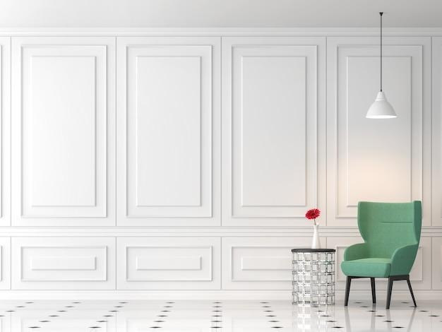 Современная классическая гостиная 3d-рендера, пустая белая стена, обставленная зеленым тканевым стулом.