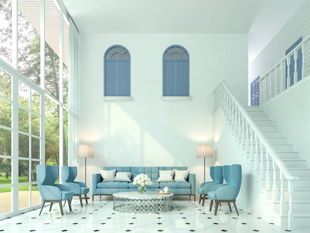 Modern classic living room 3d render. there are white room and stairs up to the upper floor