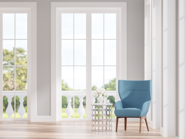 Modern classic living room with blue lounge chair 3d render focus on the chair